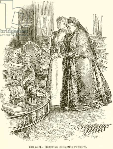 The Queen selecting Christmas Presents (engraving)