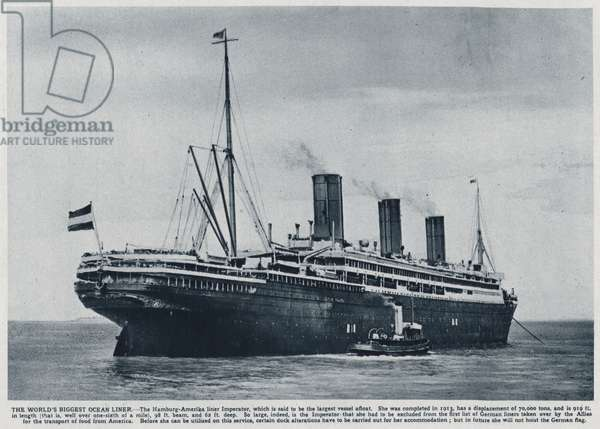 Imperator, ocean liner built for the German Hamburg America Line in 1913, used by the Allies to transport American troops back to the United States after the end of the First World War (b/w photo)