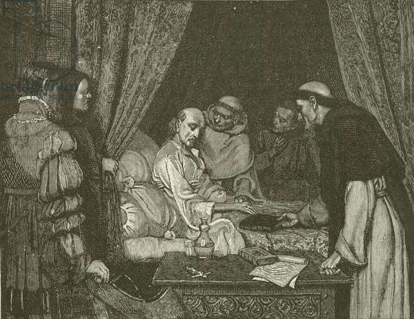 Death-Bed of Copernicus, from the painting by E Blair Leighton (engraving)