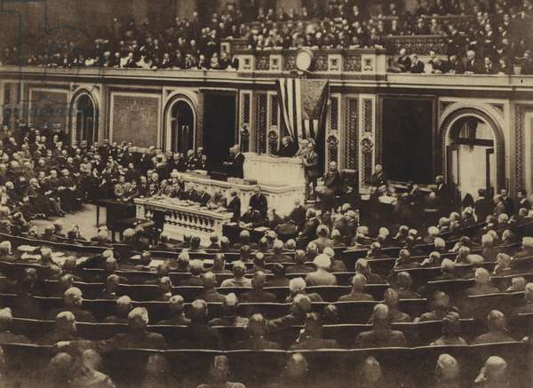 America in World War I: At 8:30 o'clock in the evening of April 2, 1917, President Wilson appeared in person before Congress sitting in joint session, and read his message recommending that a state of war be declared to exist between the United States and (b/w photo)