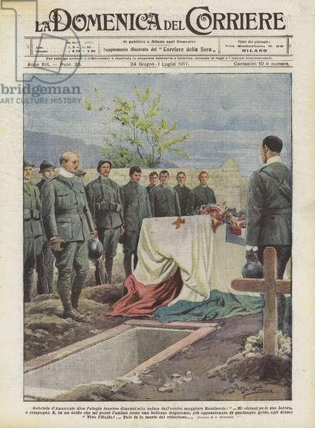 Gabriele d'Annunzio dice l'elogio funebre dinanzi alla salma dell'eroico maggiore Randaccio (colour litho)