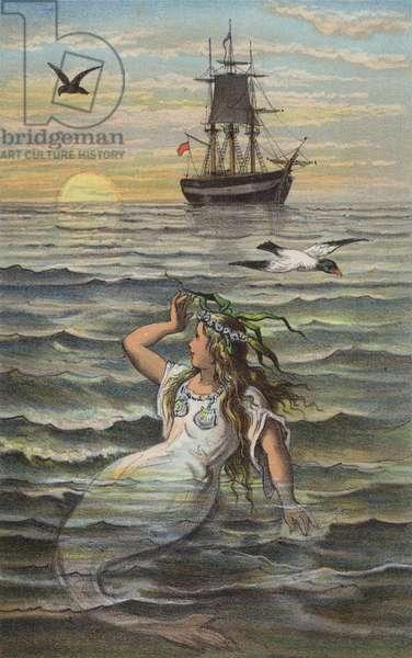 The Little Mermaid, The Sea Was Calm (colour litho)