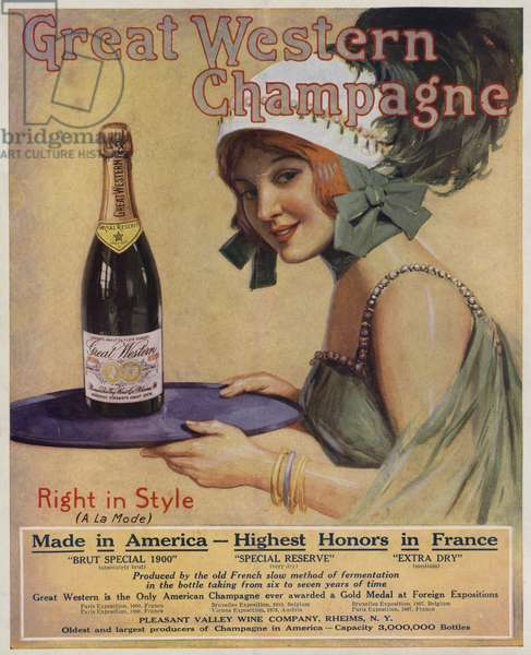 Young woman with a bottle of Champagne, advertisement for Great Western Champagne (colour litho)