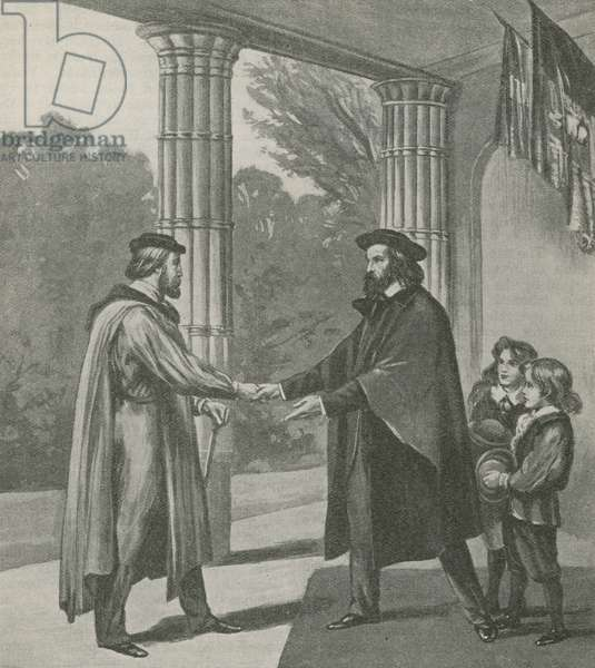 Alfred, Lord Tennyson, welcoming Giuseppe Garibaldi to his home on the Isle of Wight (litho)