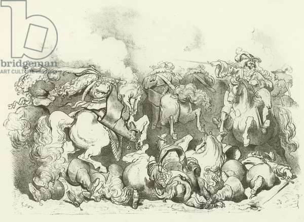 """A charge of """"Light Horse"""" in the Reign of Louis XIV (gravure)"""