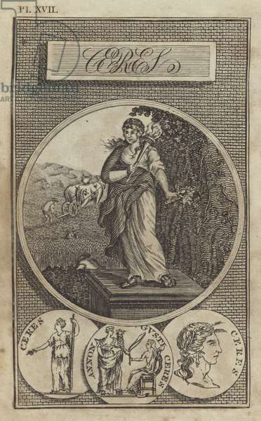 Ceres, ancient Roman goddess of agriculture (engraving)