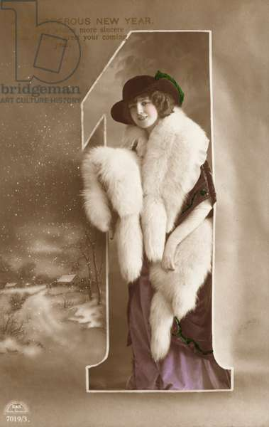 New Year's greetings card with a portrait of a young woman dressed in furs (photo)