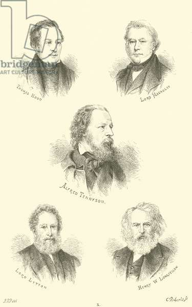 Thomas Hood, Lord Macaulay, Alfred Tennyson, Lord Lytton, Henry W Longfellow (engraving)