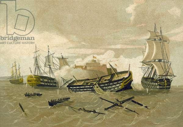 British fleet attacking Castillo del Morro, Cuba, 1761 (chromolitho)