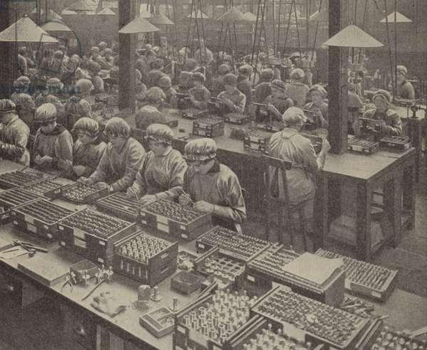 English women munitions workers assembling fuses (b/w photo)