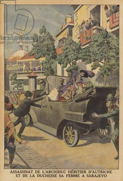 The assassination of Archduke Franz Ferdinand of Austria and his wife in Sarajevo (colour litho)