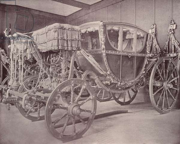 Paris: Royal Carriage, Musee Cluny (b/w photo)