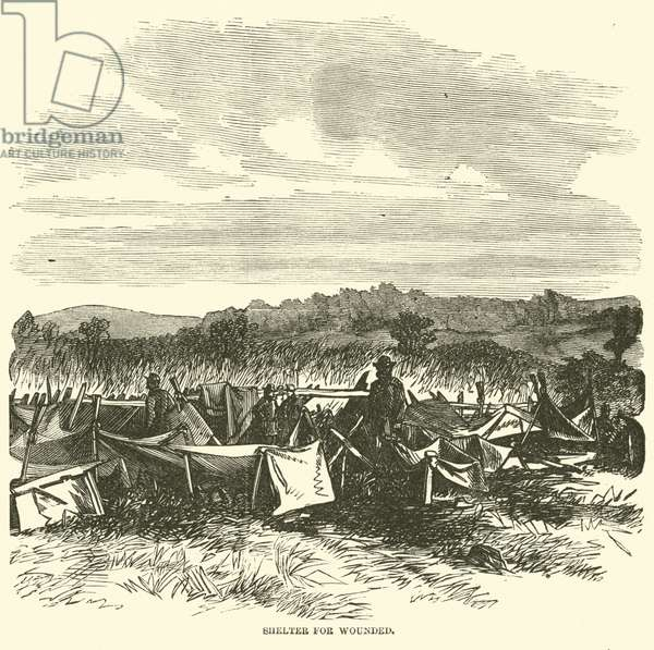 Shelter for wounded, September 1862 (engraving)