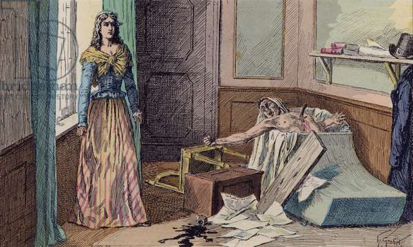 The assassination of Jean-Paul Marat by Charlotte Corday, 1793 (colour litho)
