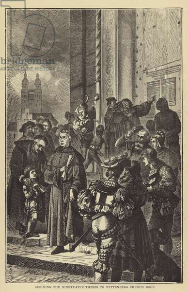 Affixing the Ninety-Five Theses to Wittenberg Church Door (engraving)
