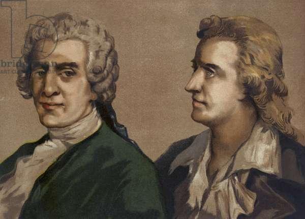 Friedrich Gottlieb Klopstock and Friedrich Schiller, German poets (chromolitho)