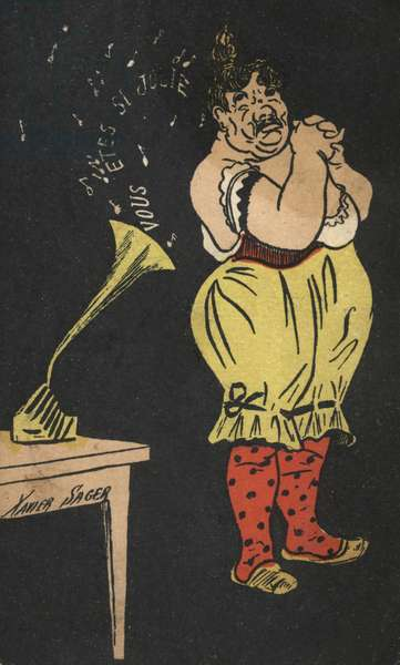 Woman with gramophone (colour litho)