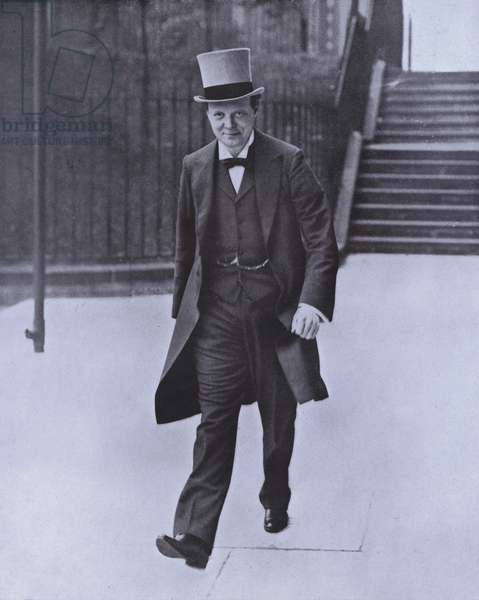 Winston Churchill, First Lord of the Admiralty at the outbreak of the First World War (b/w photo)
