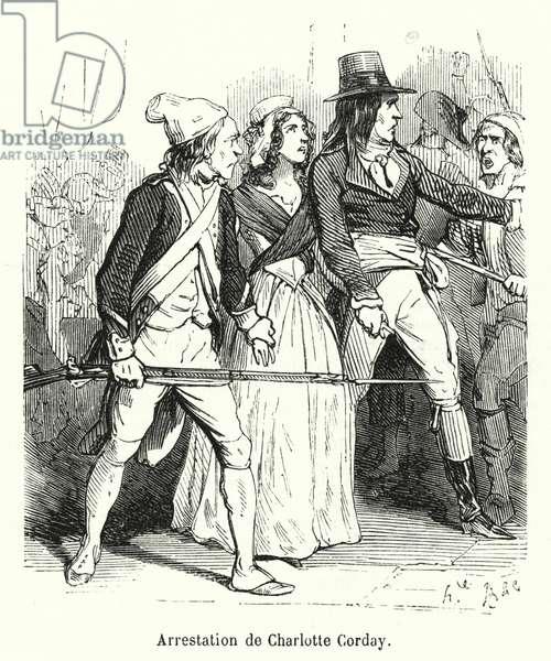 Arrestation de Charlotte Corday (engraving)