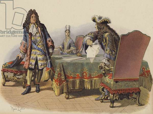 Insult of the King in the appartments of Madame de Maintenon (colour litho)