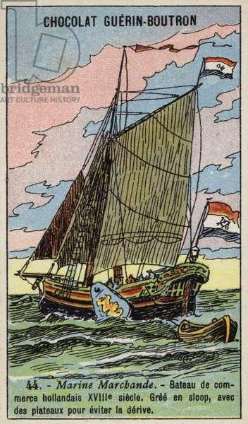 Dutch merchant sloop, 18th Century (chromolitho)