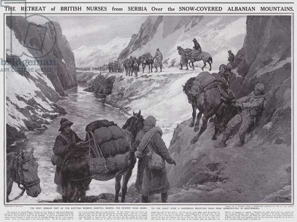 The retreat of British nurses from Serbia over the snow-covered Albanian mountains (litho)