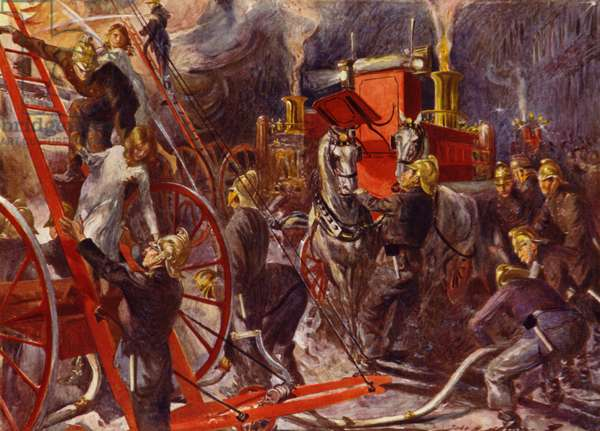 Fire brigade at work (colour litho)