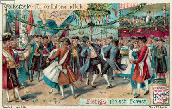 Festival of the Haloren (salters) of Halle, Germany (chromolitho)