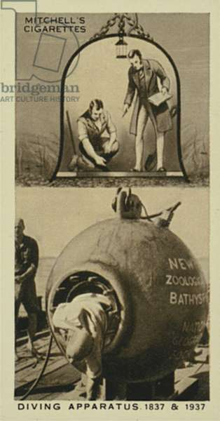 Wonderful Century, 1837-1937: Diving Apparatus, Diving Bell, The Bathysphere (litho)