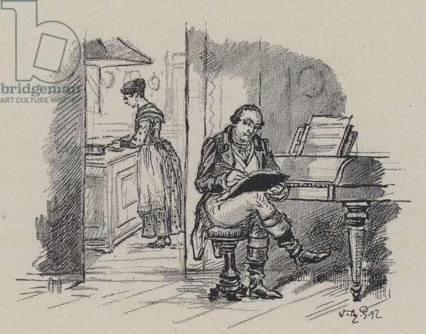 Italian composer Gioachino Rossini composing at home (engraving)