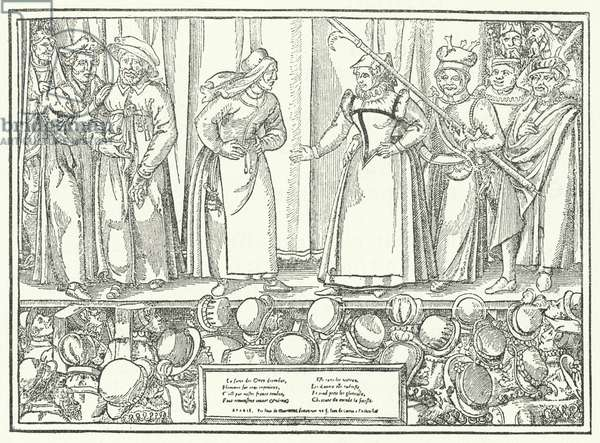 Scene from a play in a late medieval theatre (engraving)