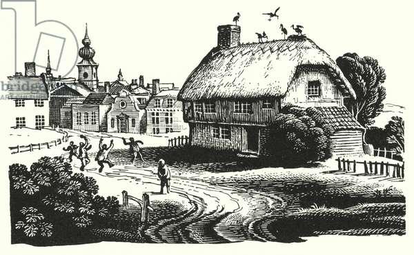 Hans Christian Andersen: The Storks (litho)