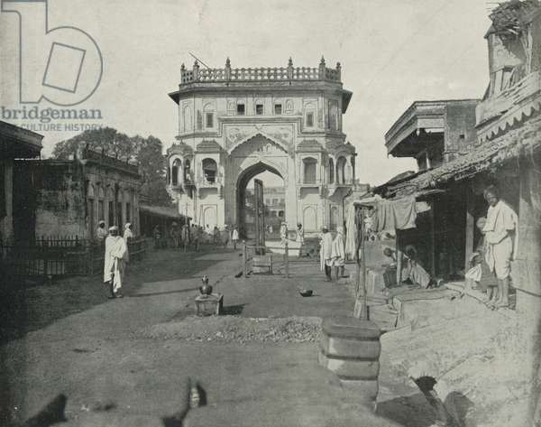 Gate of Lucknow, India (b/w photo)
