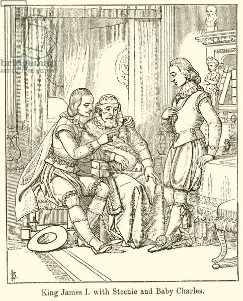 King James I with Steenie and Baby Charles (engraving)