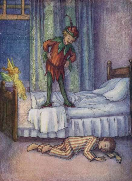John Darling, who just for a joke, was kicked out by Peter Pan (colour litho)