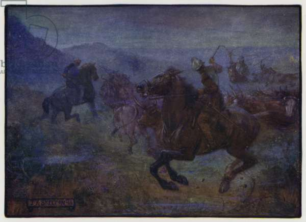 Raid in the Anglo-Scottish Borders by Border Reivers, early 16th Century (colour litho)