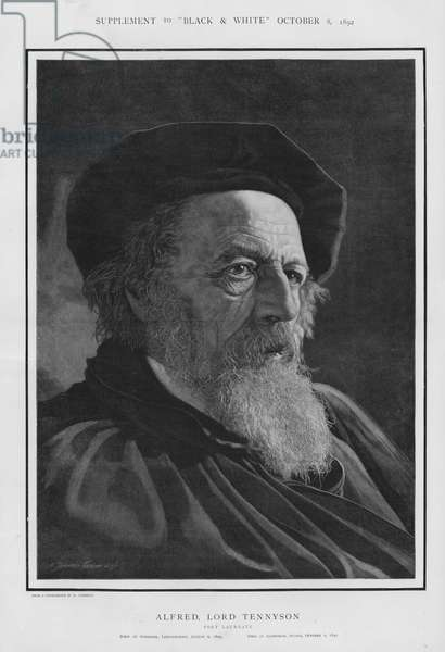 Alfred, Lord Tennyson, English Poet Laureate (litho)