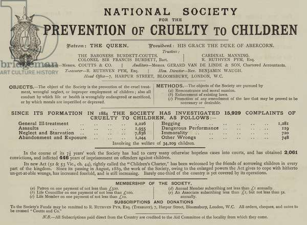 Appeal for National Society For The Prevention Of Cruelty To Children (engraving)