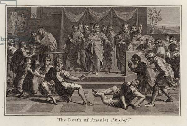 Raphael cartoon: The Death of Ananias, Acts, Chap V (engraving)