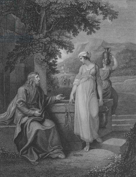 Christ and Woman of Samaria, St John 4, Verse 5-27 (engraving)
