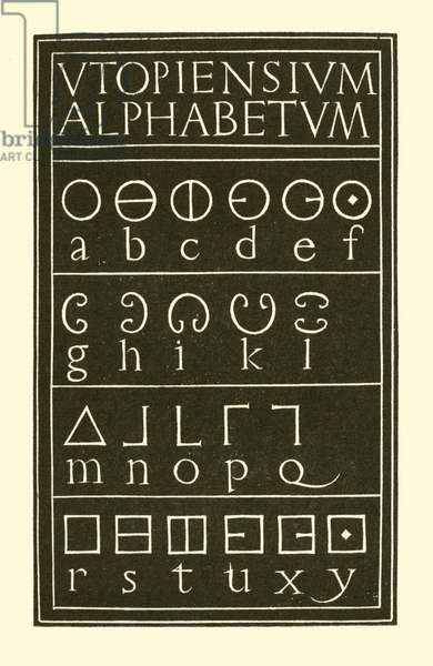 More's Utopian Alphabet, 1929 (litho)
