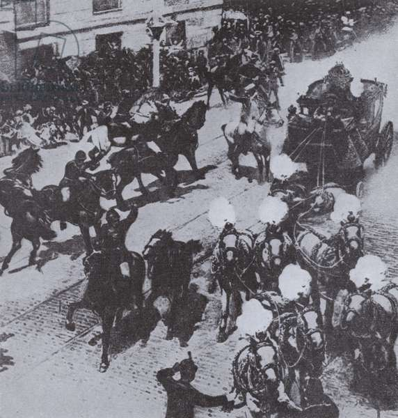 Catalan anarchist Mateu Morral throwing a bomb at the carriage of King Alfonso XIII of Spain and Princess Victoria Eugenie of Battenberg on their wedding day, Madrid, 1906 (b/w photo)
