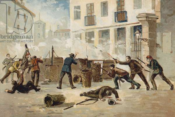 Members of the National Militia in Valencia refusing to disarm, Spain, 1873 (chromolitho)