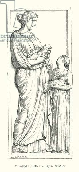 Ancient Greek mother with her children (engraving)