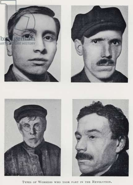 Types of Workers who took part in the Revolution (b/w photo)