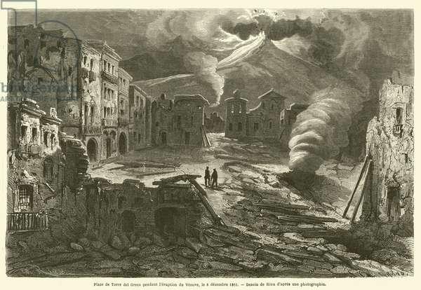 Place de Torre del Greco pendant l'eruption du Vesuve, le 8 decembre 1861 (engraving)
