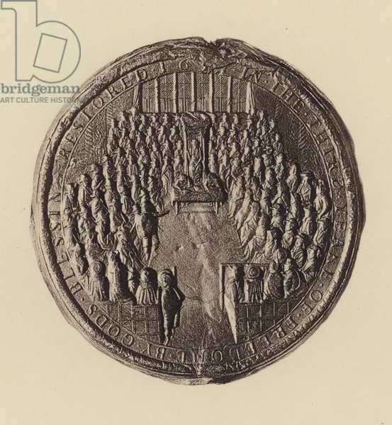 Second Seal of the Commonwealth, Reverse, with view of the House of Commons (litho)
