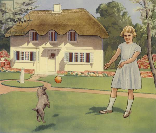 Princess Elizabeth playing outside her dolls house (colour litho)