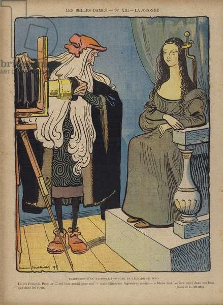 Photographing La Joconde, Illustration for Le Rire (colour litho)