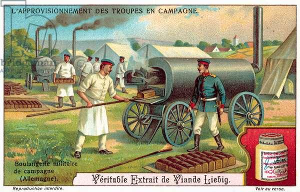 Army field bakery in Germany (chromolitho)